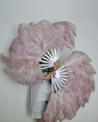 Beige&Wood  Single layer Ostrich Feather Fan for pair set 2 fans Burlesque frien