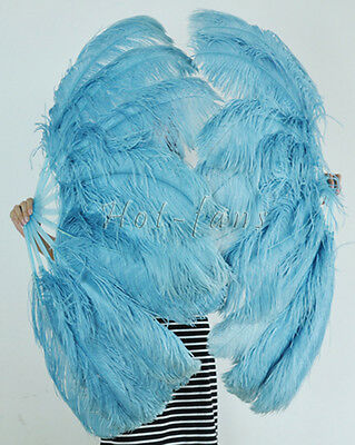 Sky Blue  Single layer Ostrich Feather Fan for pair set 2 fans Burlesque friend