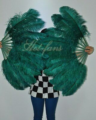 Forest Green Single layer Ostrich Feather Fan for pair set 2 fans Burlesque frie