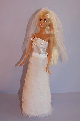 Wedding Gown Strapless with Veil Made to Fit Barbie Doll