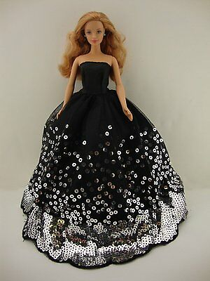 The Most Amazing Black Dress with Lots of Silver Sequins Made to Fit Barbie Doll