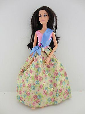 Floral and Pink Gown with Blue Sash Made to Fit Barbie Doll