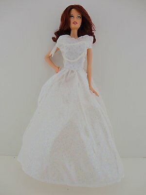 White Princess Wedding Gown with Veil Made to Fit Barbie Doll
