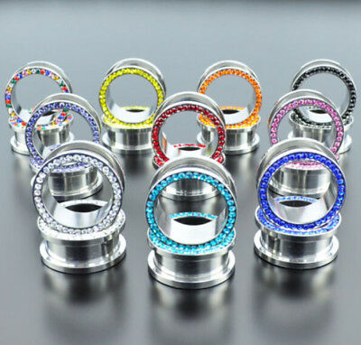 Pair Stainless Steel Cz Ear Gauges Ear Plugs Flesh Tunnels Choose Color