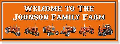 VINTAGE Allis Chalmers tractor photo CUSTOM metal sign 12x34 with your farm name