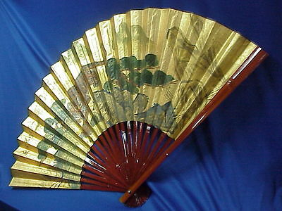 "HUGE Vintage Oriental Asian Painted Paper Wall Fan Bengal TIGER 30""x54"" SIGNED"