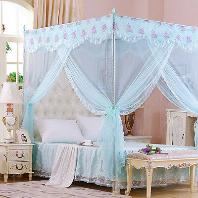 Frozen Princess Four Corner Poster Bed Canopy Single Queen Size Netting Bracket