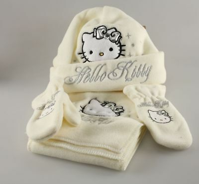 Vêtement Hello Kitty Set Bonnet Echarpe Mouffles Hello Kitty T2 - 50 cm Blanc