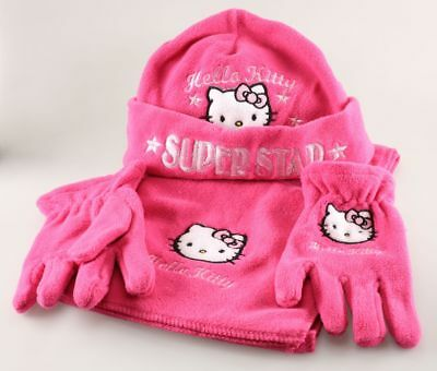 Vêtement Hello Kitty Set Bonnet Echarpe Gants Hello Kitty rose T1 - 52 cm