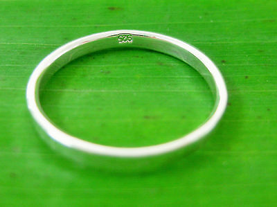 REAL 925 sterling silver 2mm Plain FLAT Band Ring sizes I1/2 to S1/2 - TEEN GIRL