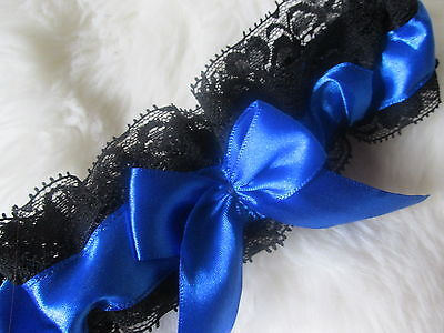 Handmade in UK Royal Blue Wedding Garter with Black Lace & Bow.