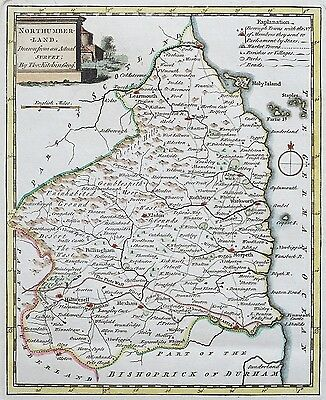 c.1786 NORTHUMBERLAND by Thomas Kitchin Genuine Antique Map