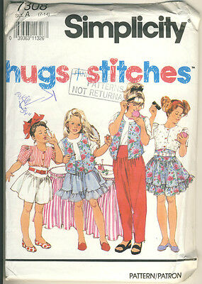 Simplicity #7308 sewing Girl's top skirt pants shorts size A 7 to 14 - 1991