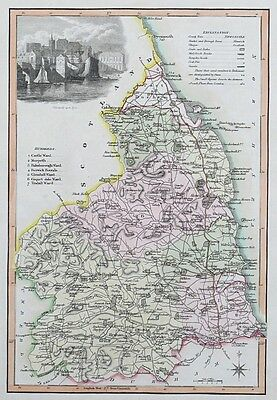 1818 NORTHUMBERLAND by Langley & Belch Genuine Antique Map