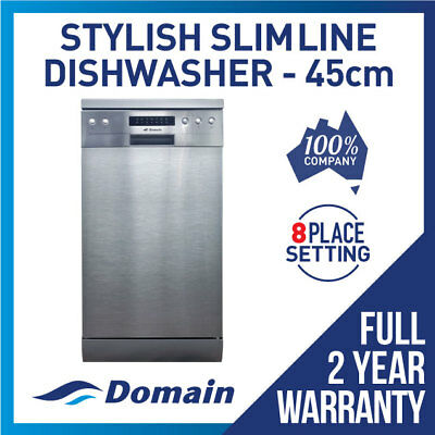 Domain 45cm Slimline 8 Place S/S Electronic Freestanding Dishwasher - 450mm