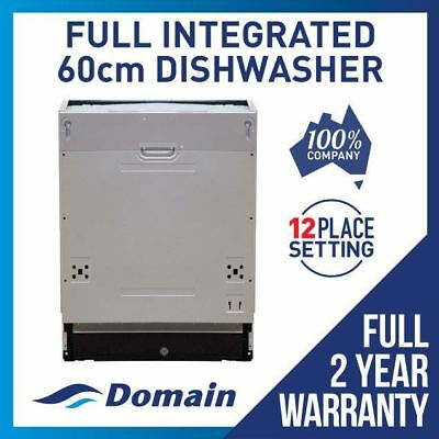 Domain 60cm Fully Built-In Integrated 12 Place Stainless Steel Dishwasher- 600mm