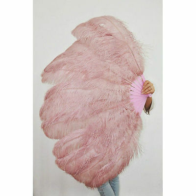 """Beige Wood Burlesque fan 2 layers Ostrich Feathers 54"""" dancing fan with gift box"""