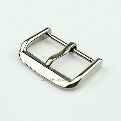 Silver Solid Stainless Steel Polished Watch Band Strap Pin Clasp Buckle 10~22 mm