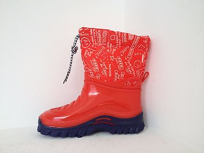 Childrens Gumboots / Snow Boots Warm Fleecy Italian RED Wellies Toddles - Kids