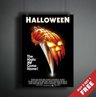 HALLOWEEN 1978 MOVIE POSTER A3 A4 * Michael Myers Classic Horror Thriller Film