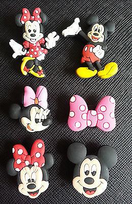 2 x Mickey & Minnie Mouse Shoe Charms Suitable Crocs Jibbitz Wristbands