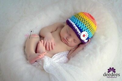 ~~ NEW Crochet Baby RAINBOW Beanie - Photography Prop - 0-3mths QLD HANDMADE ~~