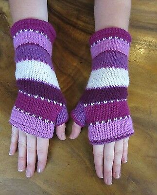 Nepalese Hand Knitted Fingerless Gloves Warm Winter Pattern Fully Lined Pink