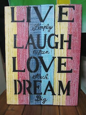 Handmade Recycled Wood Wall Hanging Sign 40x30 cm LIVE LAUGH LOVE DREAM