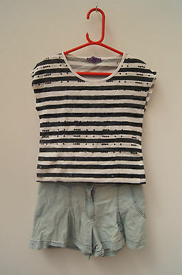 M&s Girls T Shirt And Miss Evies Skirt Shorts Age 10 Years Holiday Party