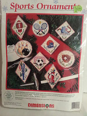 Dimensions Sports Ornaments Needlepoint Kit #9095 / New 1995 / Set of 9