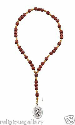 Saint St Michael Archangel Chaplet Cherry Wood Beaded Cord Rosary,Made in Brazil