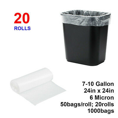 "7-10 Gallon 6 Micron 24"" x 24"" High Density Can Liner / Trash Bag - 1000 / Case"