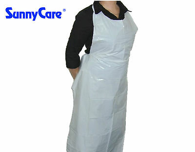 "SunnyCare 46"" x 28"" Disposable Heavyweight White Poly Apron - 1.7 Mil   100pcs"