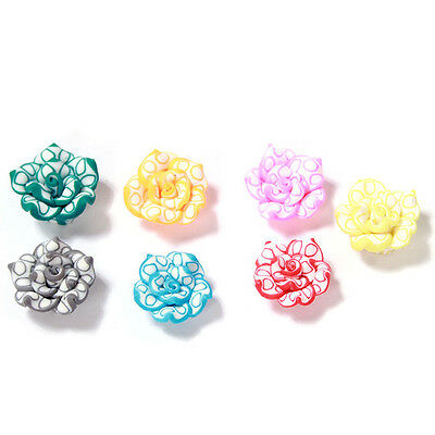 40pc LOTS Mixed Random Color Lotus Flower Charms FIMO Polymer Clay Spacer Bead C
