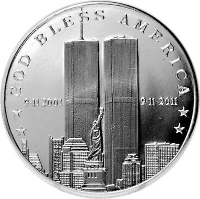 2011 911 10th Anniversary 1 oz .999 Silver Round   9-11-2001 TWIN TOWERS COIN