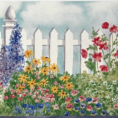 White Picket Fence & Colorful Flowers - ONLY $6 - Wallpaper Border B021