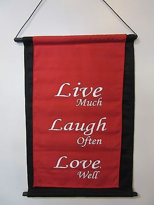 Mini Inspirational Affirmation Wall Hanger Scroll Red Live Laugh Love