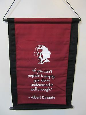 Mini Inspirational Affirmation Wall Hanger Scroll Einstein Quote Burgundy