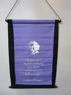Mini Inspirational Affirmation Wall Hanger Scroll Einstein Quote Violet