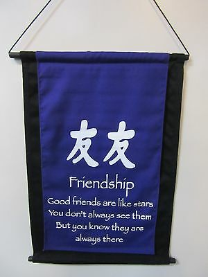 Mini Inspirational Affirmation Wall Hanger Scroll Friendship Purple