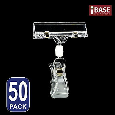 50x CLIP SIGN HOLDER CLAMP TICKET CARD MEMO PRICE DISPLAY CLOTHING RACK FREE