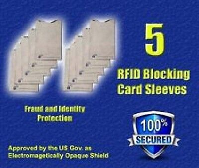 5 PACK HIGH LEVEL RFID Blocking Credit Card Sleeve Protector Shield WaterProof