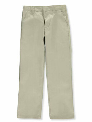 French Toast Big Boys' Flat Front Wrinkle No More Double Knee Pants