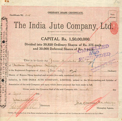 The India Jute Company, Ltd > 1921 India British colony stock certificate