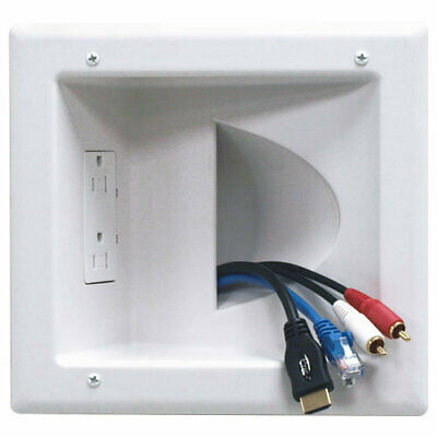 DataComm Recessed Media Plate with Duplex Receptacle (45-0031-WH)
