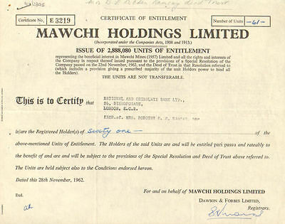 Mawchi Holdings Limited   1962 stock certificate National and Grindlays Bank