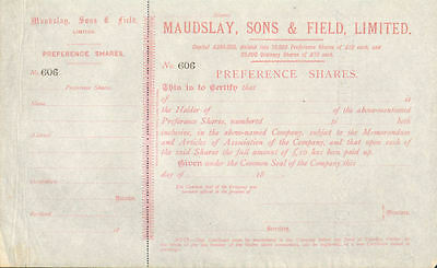 Maudslay, Sons, & Field, Limited> 18__ unissued stock certificate