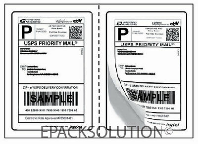1000 ROUND CORNER 5.125 x 7.5 SELF ADHESIVE SHIPPING LABELS 2 PER SHEET