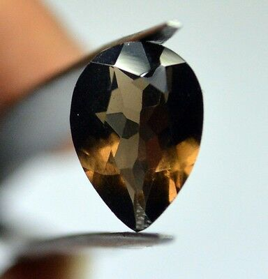 4cts 100% Natural AAA+ Brazilian Ring Size Clear Smoky Quartz Faceted FR Pear