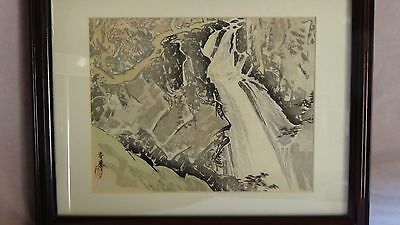 ANTIQUE 19c JAPANESE ORIGINAL WOODBLOCK LANDSCAPE W/MOUNTAINS&WATERFALL,SIGNED